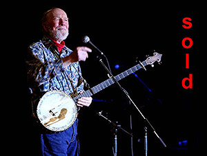 SOLD, Pete Seeger with his banjo, Beacon, NY March 24, 2007