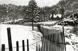 """Alan Petrulis, """"The Dairy - Central Park"""", etching"""