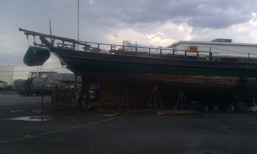 The sloop undergoing maintenance in Albany last spring.