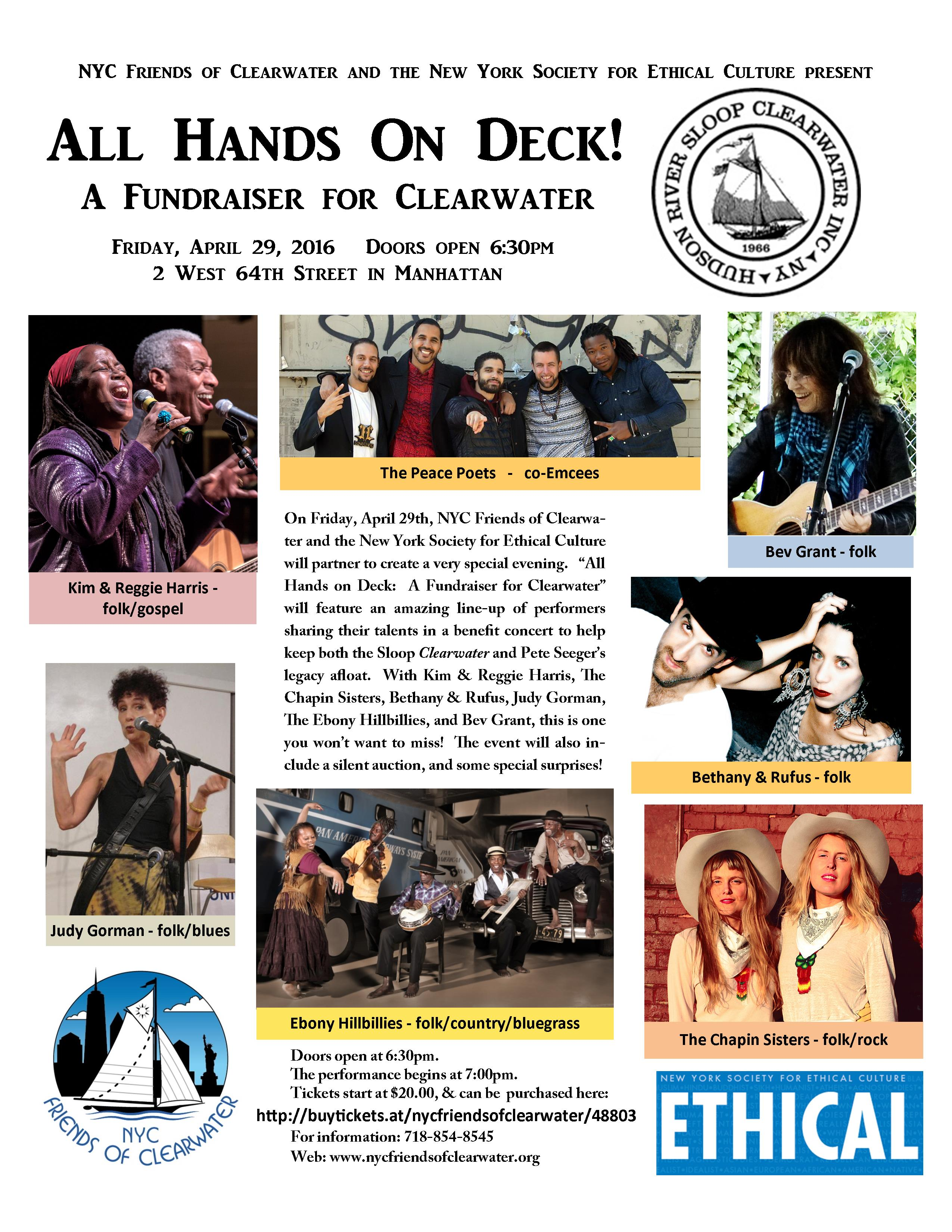 All Hands On Deck - April 29th - A Fundraiser for Clearwater