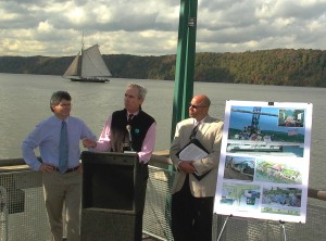 Paul Gallay, executive director of Riverkeeper, Ned Sullivan, president of Scenic Hudson, and Jeff Rumpf, executive director of Clearwater outline an environmental action agenda for the Hudson Valley at an October 14th press conference at Yonkers Recreation Pier