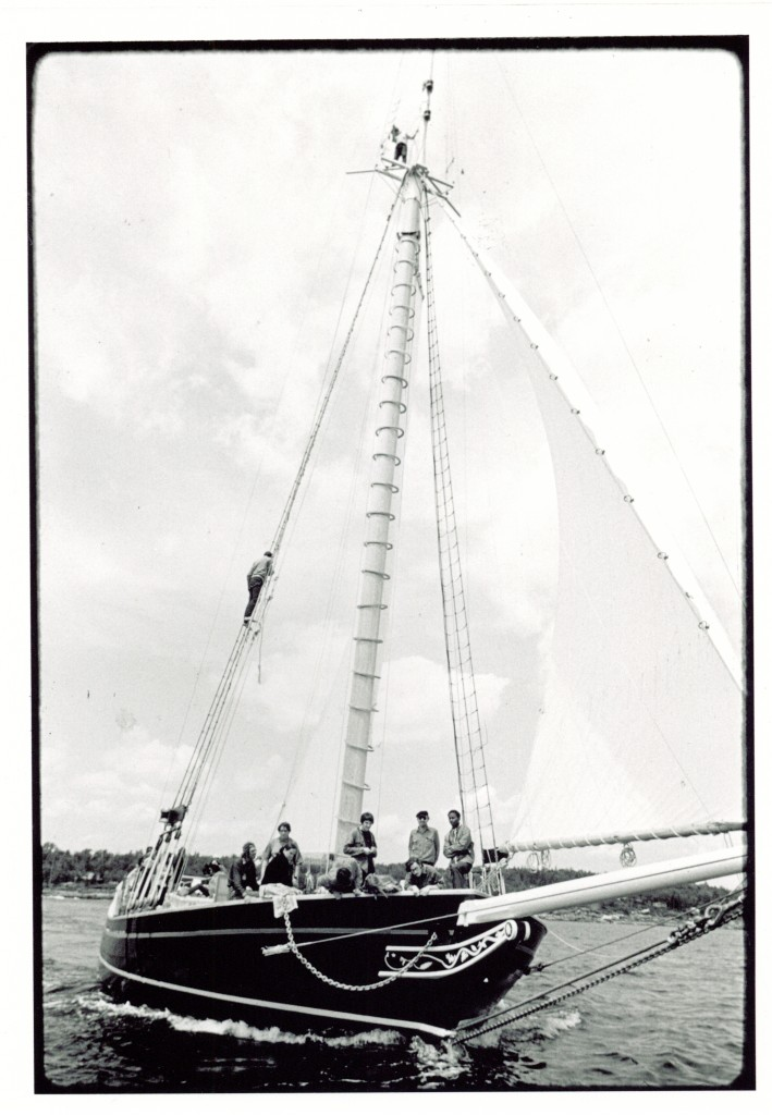 The sloop Clearwater's maiden voyage. Photo courtesy of the A Wallace Collection.