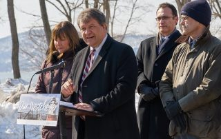 Westchester County, NY officials and Clearwater representatives speak at a press conference 3/7/19 to announce collaboration on the Great Hudson River Revival music festival.